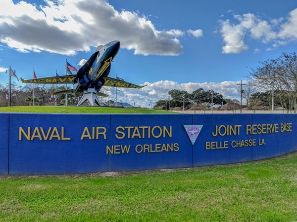 Entrance to Naval Air Station Joint Reserve Base in New Orleans