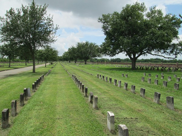 Chalmette National Cemetery and Battlefield - thousands of veterans headstones are located here