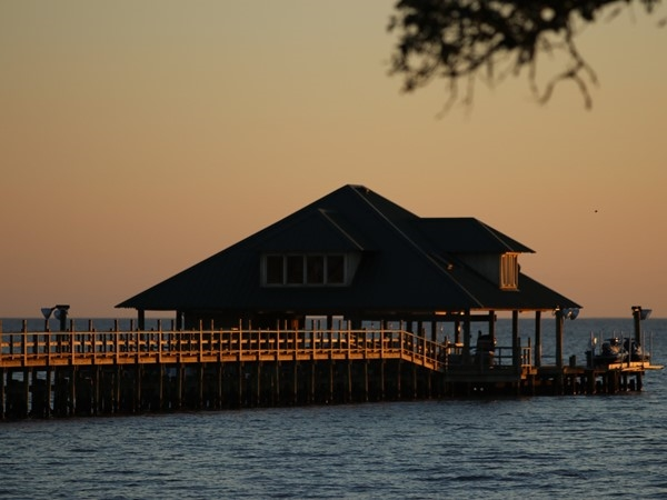 The sun is setting at Old Settlement at Big Lake