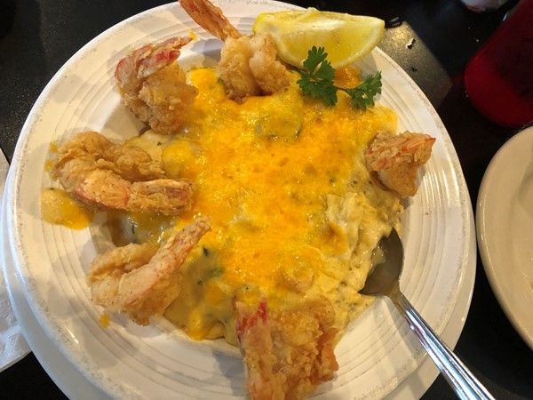So delicious! Seafood stuffed baked potato from Dempsey's in Prairieville