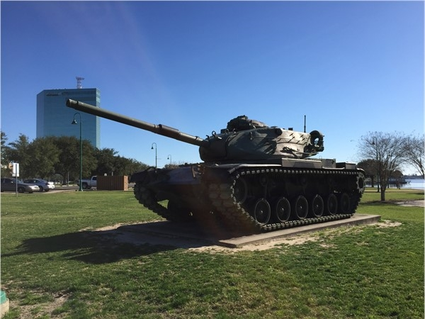 Military vehicle in Veteran's Memorial Park located on the seawall in Downtown Lake Charles