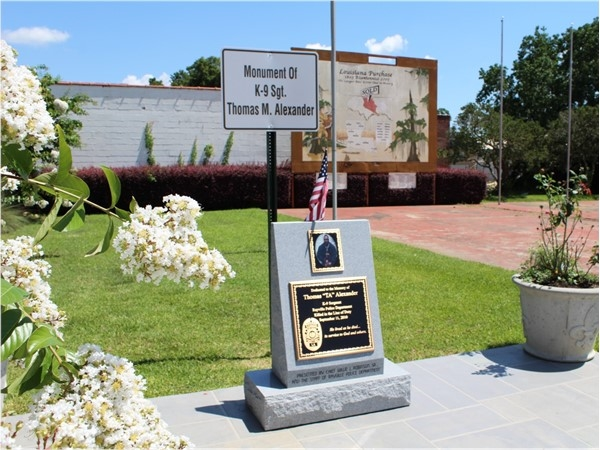 The K-9 Sgt. Thomas M. Alexander monument depicts the community strength in Rayville, LA