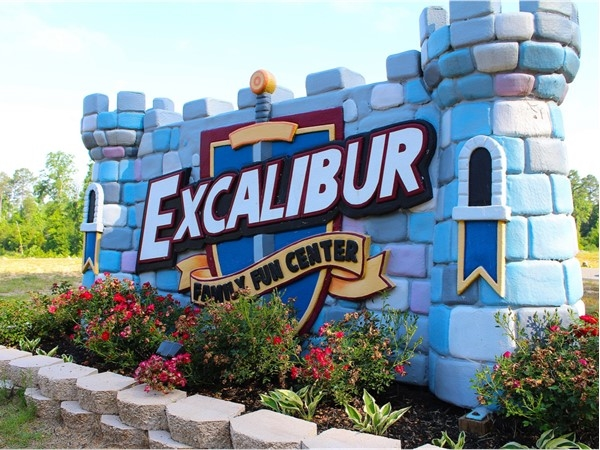 Excalibur Family Entertainment Center features a rock climbing wall, and laser tag