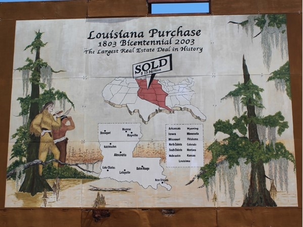 This beautiful mural depicting the Louisiana Purchase can be found in downtown Rayville